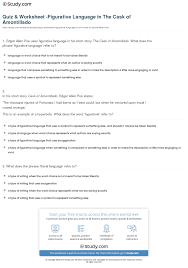 quiz worksheet figurative language in the cask of amontillado print figurative language in the cask of amontillado worksheet
