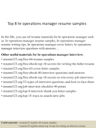 top8hroperationsmanagerresumesamples 150515024418 lva1 app6892 thumbnail 4 jpg cb 1431657901