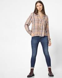 Buy Girls Pink Check <b>Loose Fit</b> Shirt Online | ONLY