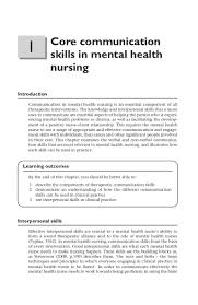 core communication skills in mental health nursing