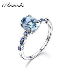 <b>AINUOSHI</b> 3 Carat <b>Oval Natural Sky</b> Blue Topaz Ring Solid 925 ...