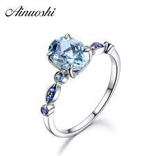 <b>AINUOSHI</b> 3 Carat <b>Oval Natural Sky</b> Blue Topaz Ring Solid 925 ...