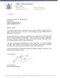 minister of broadcasting reply to captioning working group letter letter from craig foss
