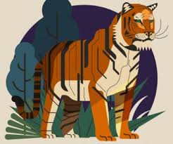 Tiger <b>Flora</b> Painting Colorful <b>Classical</b> Sketch-vector Abstract-free ...
