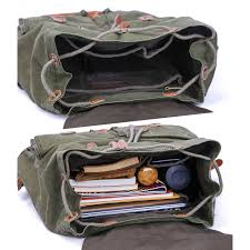 "<b>Vintage</b> Canvas <b>Backpack Rucksack</b> fit 15.6"" Laptop - Gootium"