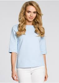 Elegant Blouse with Back Zipper and Bow Tie - <b>Light Blue</b> | ModLi