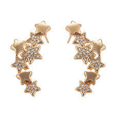 Fashion rhodium gold-plated <b>zircon</b> CZ stud earring in <b>maple leaves</b> ...