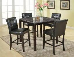 4 chair kitchen table: roundhill furniture  piece praia artificial dark marble top pub dining table  chairs set