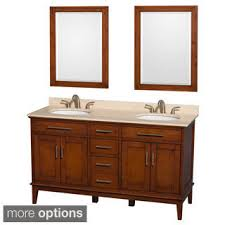 dual vanity bathroom: wyndham collection hatton light chestnut  inch double vanity