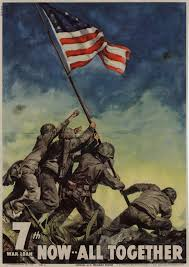 winners of the wwii student essay contest the national wwii 7th war bond drive poster featuring the famous flag raising on iwo jima 1945