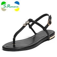 S.Romance Genuine Leather Women Flats Sandals <b>Plus Size 34 43</b> ...