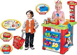 Vinsani <b>Kids</b> Light and <b>Sound Supermarket</b> Playset Food Stall Role ...
