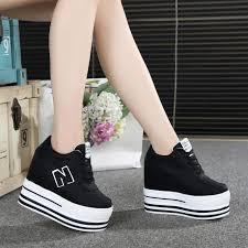 2020 New Lady 11CM High Heels <b>Fashion Canvas</b> Casual Wedge ...