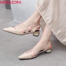 MORAZORA 2019 <b>big size 42</b> genuine leather shoes woman ...