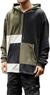Uqiangy <b>Men's Casual</b> Loose <b>Fashion Stitching</b> Pullover Pocket ...