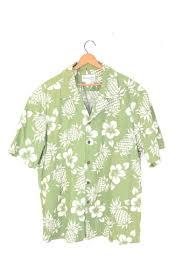 Leaf Green Pineapple/<b>Floral</b> Hawaiian Shirt | <b>Men's Large</b>
