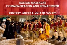 「The Boston Massacre is reenacted every year on March 5th, on the actual site in front of the Old State House.」の画像検索結果