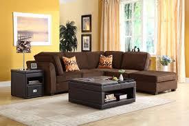 yellow walls living room design brown