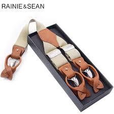 <b>RAINIE SEAN</b> Suspender Men Solid Beige Clips Shirt Braces <b>Real</b> ...