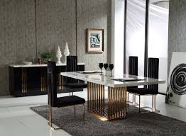 modern formal dining room rectangular white polished wooden dining table two black backrest dining chair two cabinet glass doors luxury purple tuftted black wood dining room