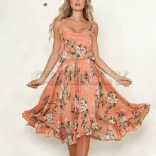 CUERLY Bohemian <b>floral</b> print <b>women</b> dress Sexy strap A-line lace ...