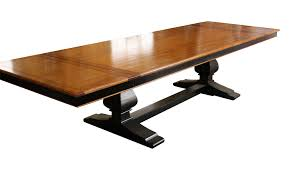 long wood dining table: long modern distressed trestle pedestal dining table with leaf and low wooden base painted with black color ideas