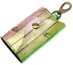 MASSIKOA Wooden Planks <b>PU Leather Car Key Chain</b> Card Holder ...