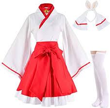 Japanese Anime red and White Kimono Fox Cosplay ... - Amazon.com