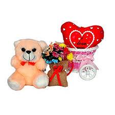 Sweet <b>Cute</b> Teddy with <b>Flower</b> Bag & Heart for Someone <b>Special</b>