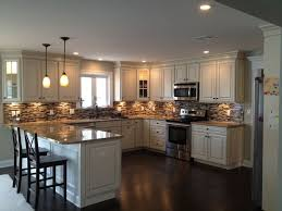small u shaped kitchen design: u shaped kitchen with peninsula design with american woodmark cabinets savannah maple white with hazelnut