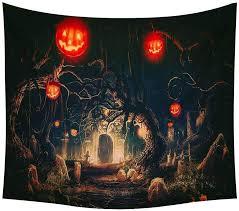 Art <b>Halloween Theme Pattern</b> Tapestry Room Bedspread Wall ...