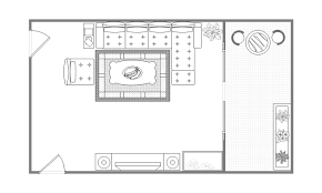 Drawing Room Layout with Balcony