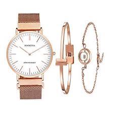 MAMONA <b>Women's</b> Rose <b>Gold Watch</b> & Bracelet Gift Set <b>Waterproof</b> ...