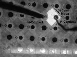 Fabricated In 0.07 Ga 0.93 N p-i-n <b>solar</b> cell mesa structure emitting ...
