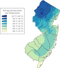 geography of new jersey average daily low temperature in