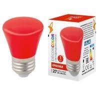 (UL-00005646) <b>Volpe</b> E27 1W красная <b>LED</b>-<b>G45</b>-<b>1W</b>/<b>RED</b>/<b>E27</b>/<b>FR/С</b>