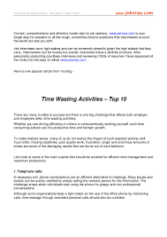 top 10 time wasting activities from jobxray com