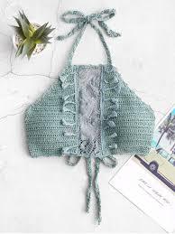 [56% OFF] <b>2019</b> Halter Tassels Lace Panel <b>Crochet Bikini</b> Top In ...