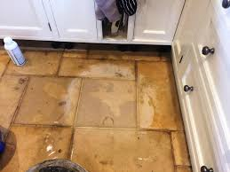 Stone Floor Tiles Kitchen Cleaning And Polishing A Dull Limestone Kitchen Floor Tiles In The