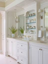 traditional style antique white bathroom:  vintage cream furniture image of fantastic french country bathroom mirror and wall mounted lamp shades over white vanity top