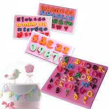 Hot <b>3PC</b> number 0 9 letters silica gel mould <b>cake</b> decorating tools ...