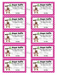 printable pink girl monkey diaper raffle tickets bee busy designs