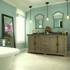 light blue bathroom exudes cottage charm bathroom pendant lighting double vanity