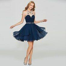 Tanpell halter homecoming dress dark navy beaded sleeveless ...