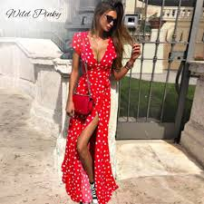 <b>WildPinky</b> Boho Polka Dot Long Dresses <b>Women</b> Split Short Sleeve ...