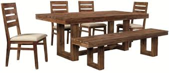 chair dining room tables rustic chairs: six piece modern rustic rectangular trestle table with ladderback side chairs amp dining bench