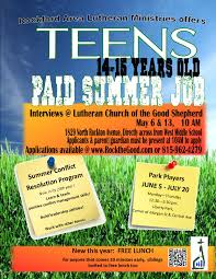 rockford area lutheran ministries park players 2017 teen job opportunity
