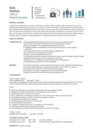 office administrator resume templates examples of resumes for administrative positions