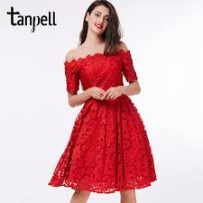 <b>Tanpell</b> off the shoulder cocktail <b>dress</b> red <b>lace</b> A line knee length ...