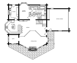 Log Home Floor plan   PonderosaPonderosa Log Home Floor Plan